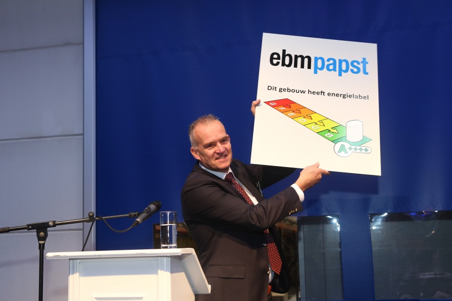 Opening nieuwbouwpand ebm-papst energielabel A++++